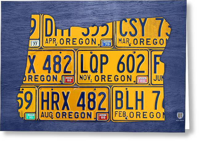 Oregon State License Plate Map Greeting Card