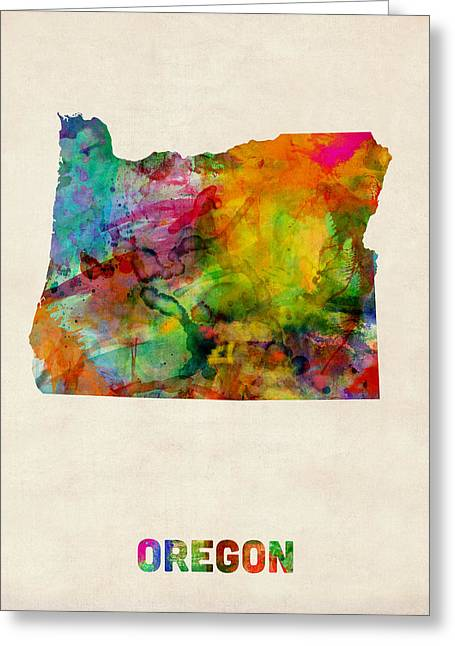Oregon Watercolor Map Greeting Card by Michael Tompsett