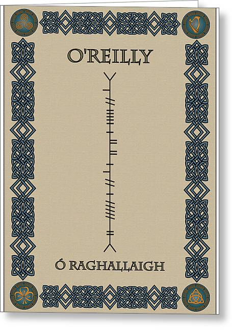 Greeting Card featuring the digital art O'reilly Written In Ogham by Ireland Calling