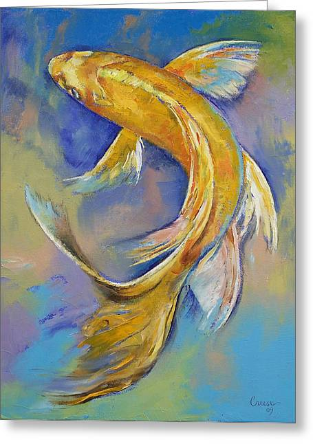 Orenji Butterfly Koi Greeting Card by Michael Creese