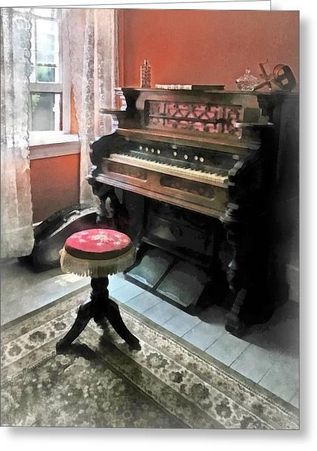 Organ With Petit Point Stool Greeting Card by Susan Savad