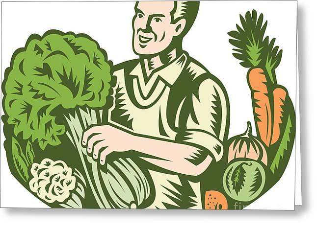 Organic Farmer Green Grocer With Vegetables Retro Greeting Card by Aloysius Patrimonio