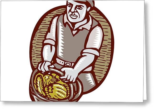 Organic Farmer Harvest Basket Woodcut Linocut Greeting Card by Aloysius Patrimonio