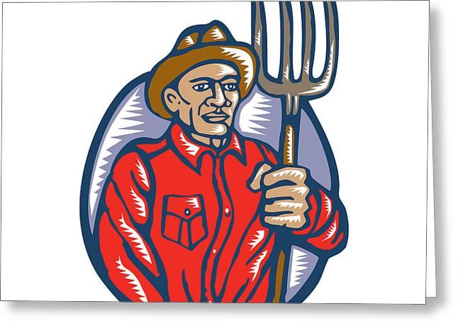 Organic Farmer Holding Pitchfork Woodcut Linocut Greeting Card by Aloysius Patrimonio