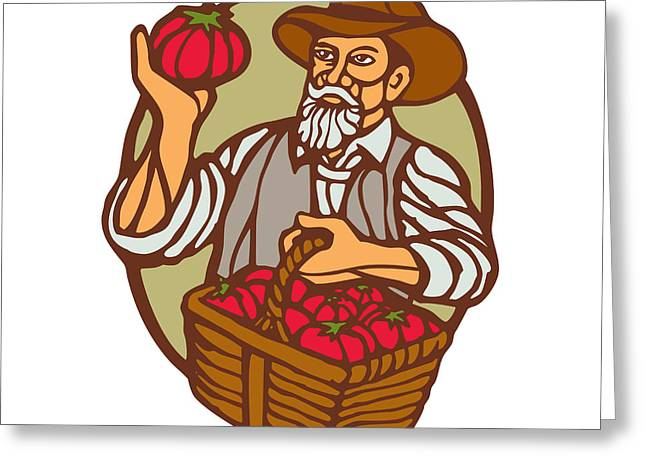 Organic Farmer Tomato Basket Woodcut Linocut Greeting Card by Aloysius Patrimonio