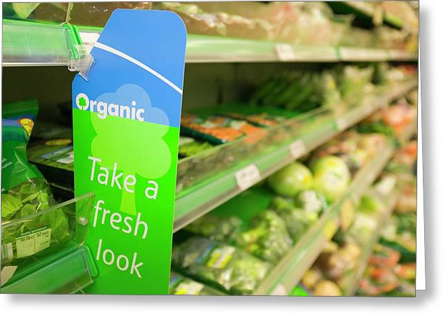 Organic Food In A Supermarket Greeting Card by Ashley Cooper
