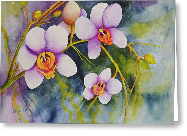 Orchids In My Garden Greeting Card