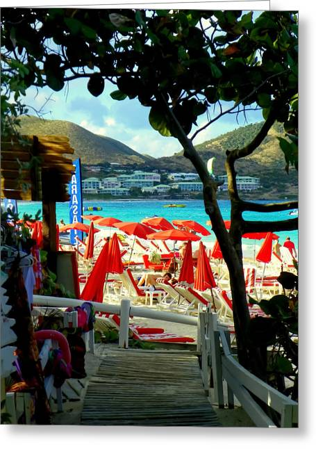 Orient Beach Peek Greeting Card by Karen Wiles