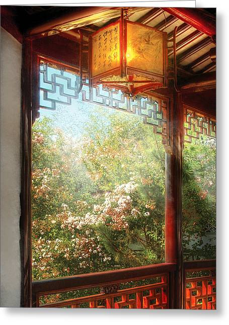 Orient - Lamp - Simply Chinese Greeting Card by Mike Savad