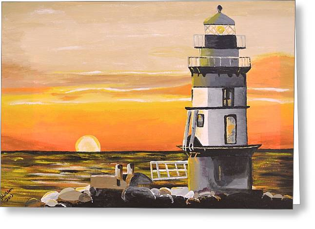 Orient Point Lighthouse Greeting Card by Donna Blossom