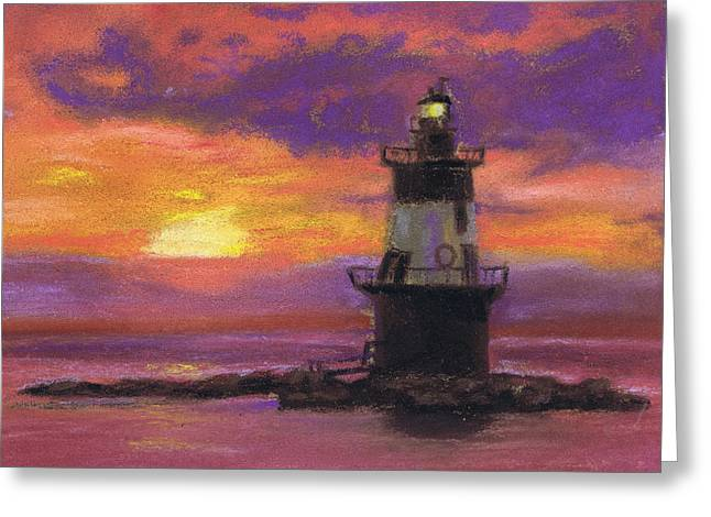 Orient Point Lighthouse Sunset Greeting Card by Susan Herbst