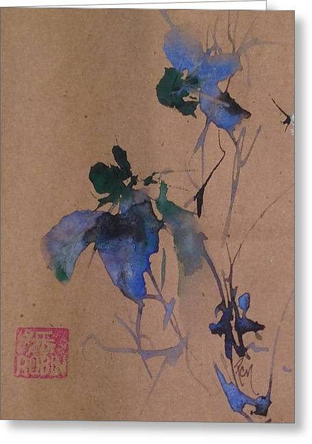 Oriental Blue Louisiana Iris Flower Study  Greeting Card by Robin Miller-Bookhout