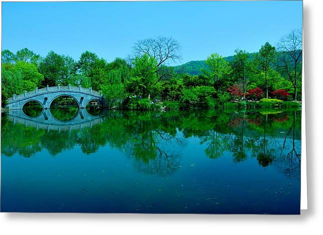 Oriental Bridge Over West Lake Greeting Card