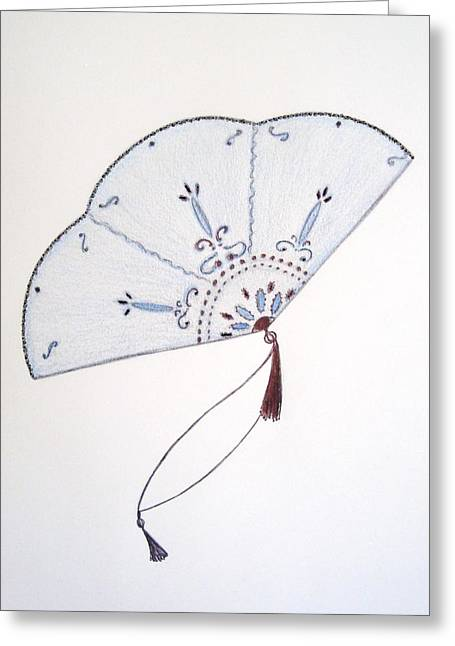 Oriental Fan Greeting Card by Christine Corretti