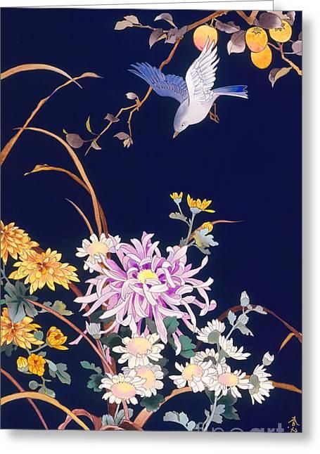 Oriental Flowers And Bird Greeting Card by Haruyo Morita
