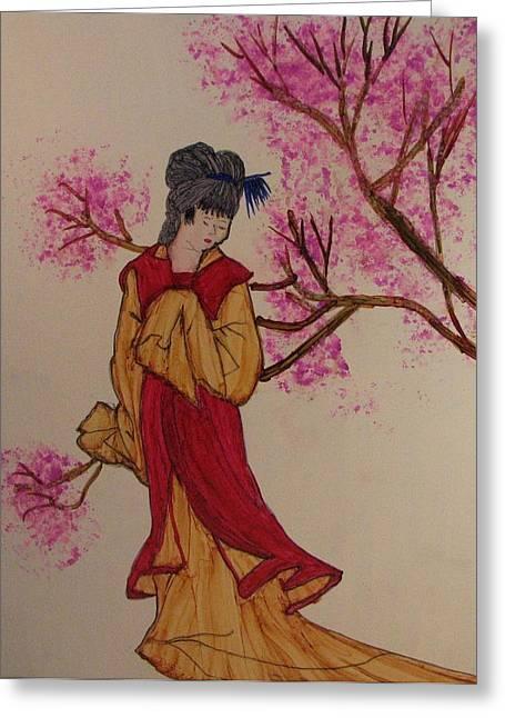 Oriental Garden Greeting Card by Linda Brown