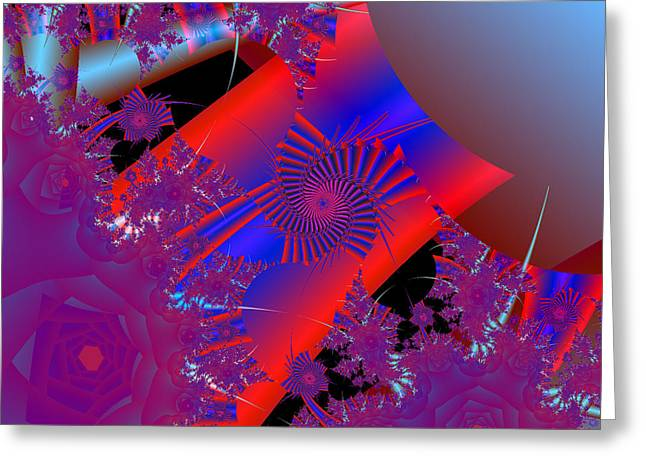 Greeting Card featuring the digital art Oriental In Red by Ann Peck