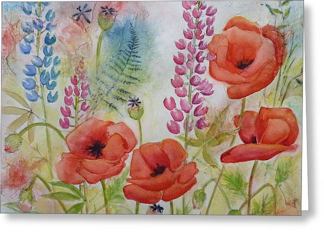 Greeting Card featuring the painting Oriental Poppies Meadow by Carla Parris