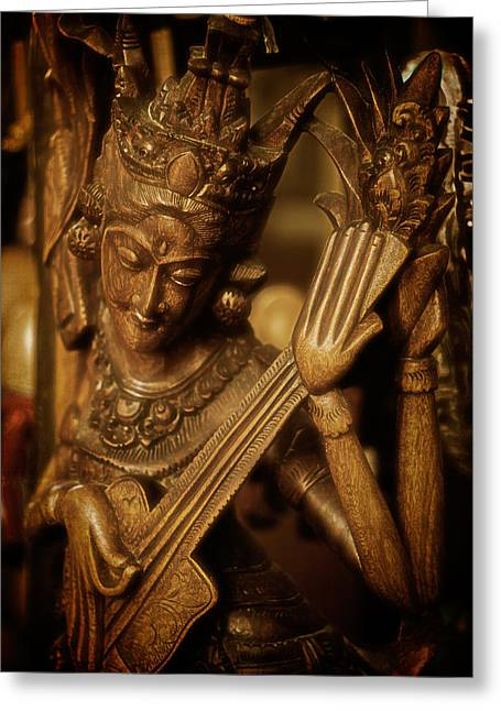Oriental Wooden Princess Playing Instrument Greeting Card by Dave Garner
