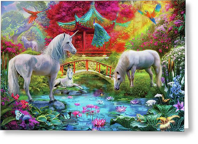 Greeting Card featuring the drawing Orietnal Unicorns by Jan Patrik Krasny
