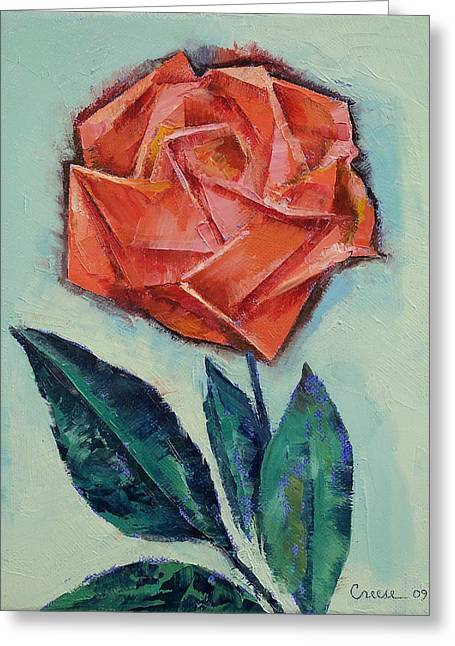 Origami Rose Greeting Card by Michael Creese