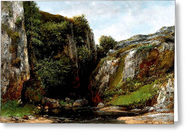 Greeting Card featuring the digital art Origin Of A Stream by Gustave Courbet