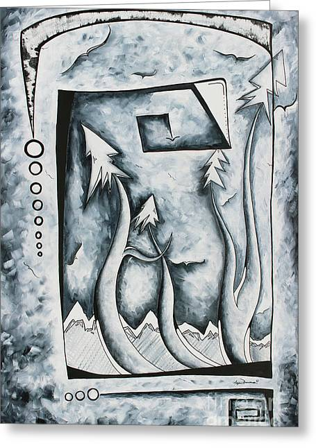 Original Abstract Landscape Black And White Pop Art Style Art By Megan Duncanson Silent Mystery Greeting Card by Megan Duncanson