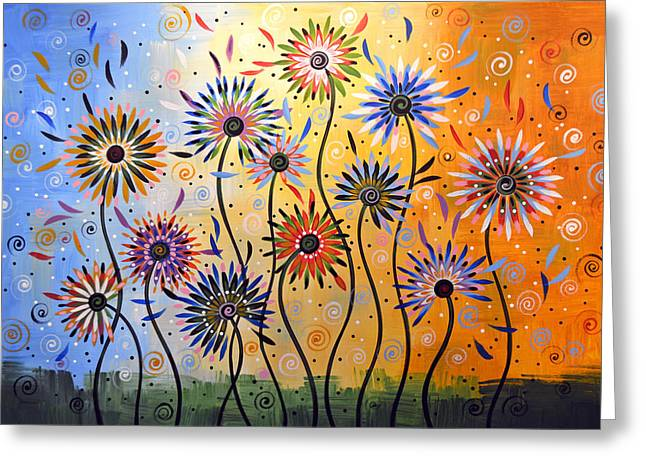 Original Abstract Modern Flowers Garden Art ... Explosion Of Joy Greeting Card by Amy Giacomelli