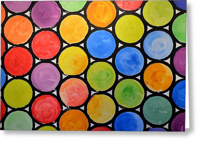 Greeting Card featuring the painting Original Abstract Painting Circles Print ... Watercolor Windows by Amy Giacomelli