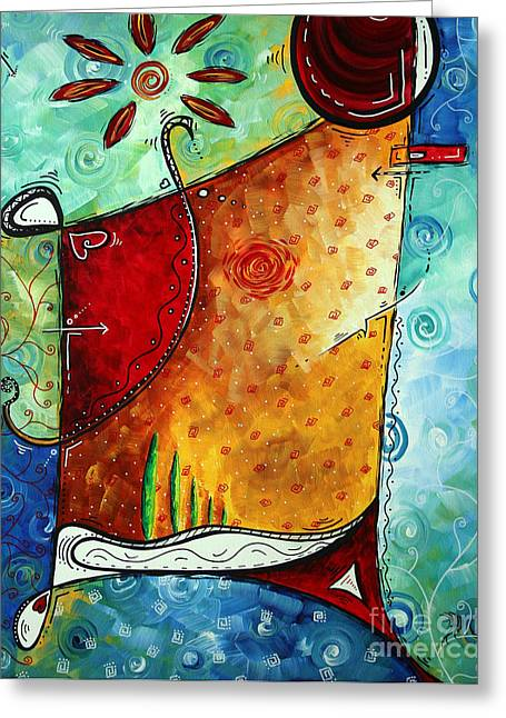 Original Abstract Pop Art Style Colorful Landscape Painting Home To Tuscany By Megan Duncanson Greeting Card by Megan Duncanson