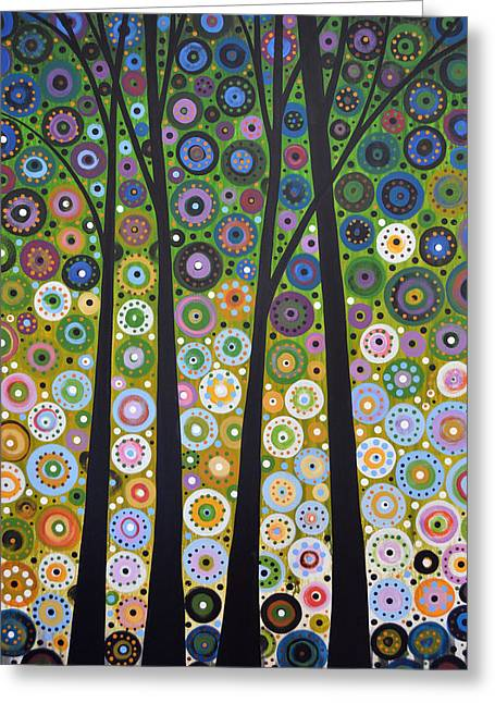 Original Abstract Tree Landscape Painting ... Falling Light Greeting Card by Amy Giacomelli