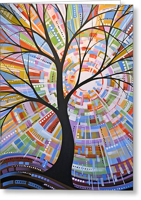 Greeting Card featuring the painting Original Abstract Tree Landscape Painting ... Here Comes The Sun by Amy Giacomelli
