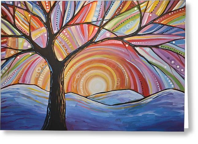 Greeting Card featuring the painting Original Abstract Tree Landscape Painting ... Mountain Majesty by Amy Giacomelli