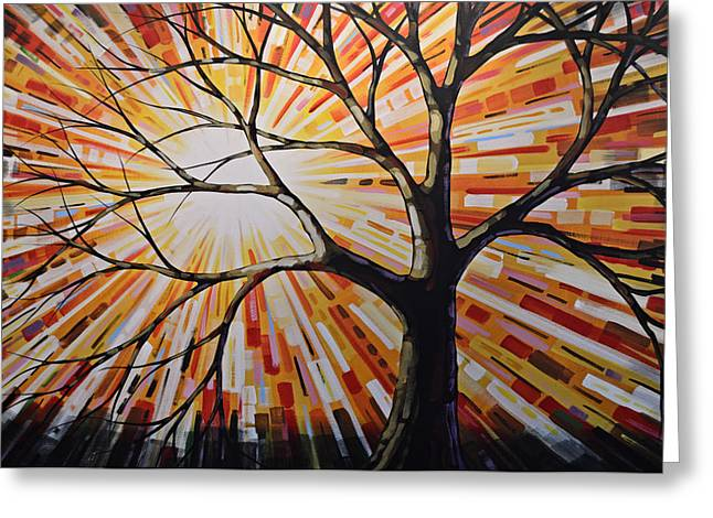 Greeting Card featuring the painting Original Abstract Tree Landscape Painting ... Shine by Amy Giacomelli