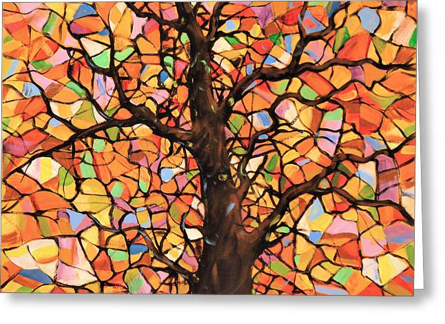 Original Abstract Tree Landscape Painting ... Stained Glass Tree #2 Greeting Card by Amy Giacomelli
