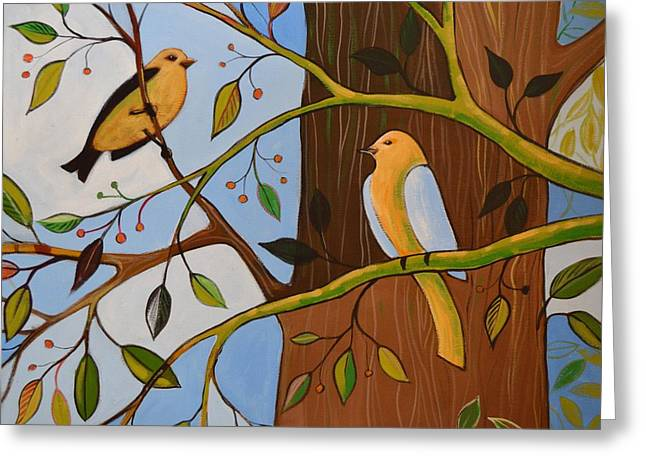 Greeting Card featuring the painting Original Animal Birds Art Painting ... Birds In The Garden by Amy Giacomelli