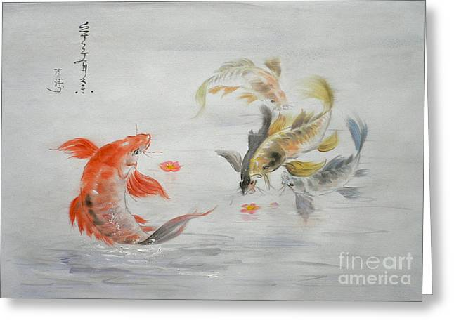 Original Animal  Oil Painting Art- Goldfish Greeting Card