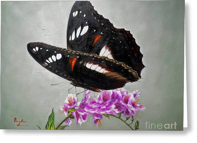 Original Animal Oil Painting Art-the Butterfly#16-2-1-09 Greeting Card