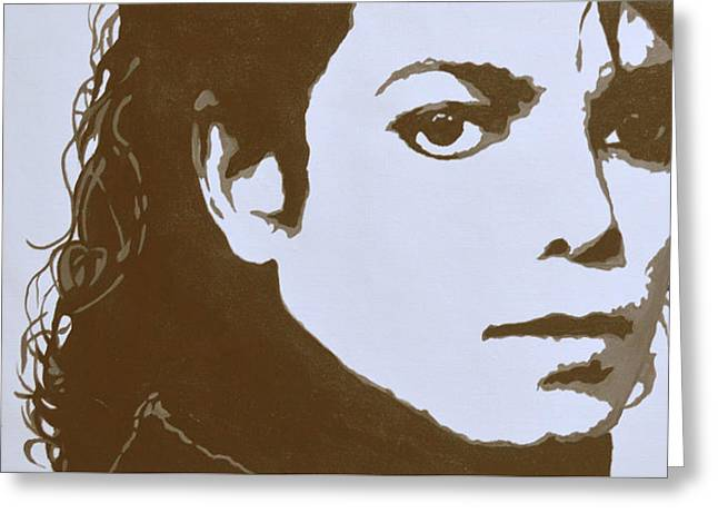 original black an white acrylic paint art- portrait of Michael Jackson#16-2-4-12 Greeting Card