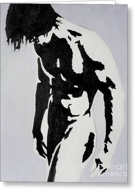 Original Black An White Acrylic Paint Man Gay Art -male Nude#16-2-4-17 Greeting Card