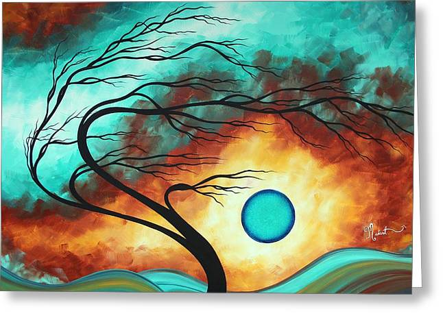 Original Bold Colorful Abstract Landscape Painting Family Joy I By Madart Greeting Card