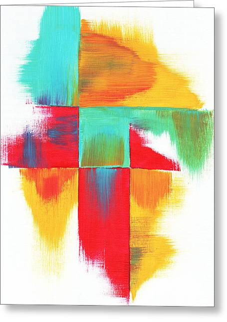 Original Bold Colorful Abstract Painting Indecisive By Madart Greeting Card by Megan Duncanson