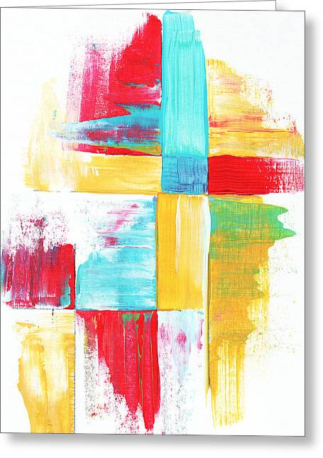Original Bold Colorful Abstract Painting Patchwork By Madart Greeting Card by Megan Duncanson