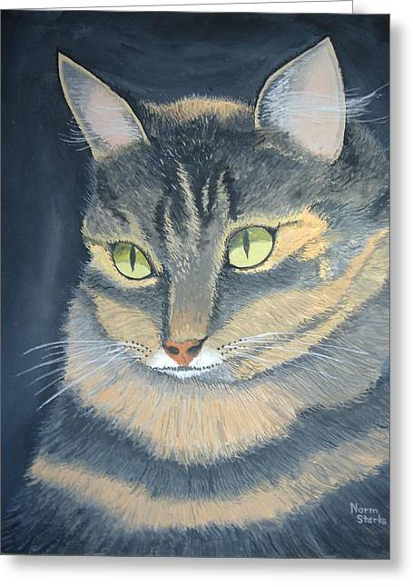 Original Cat Painting Greeting Card by Norm Starks