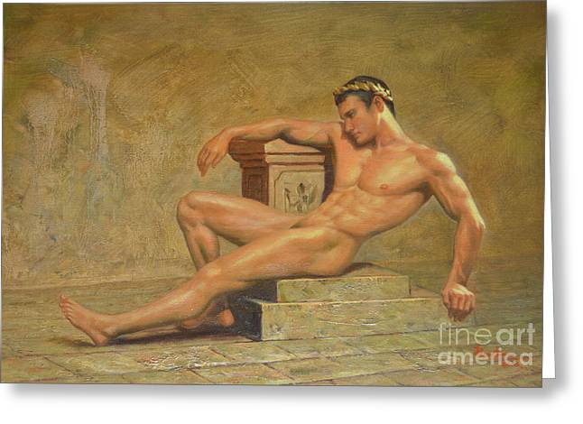 Original Classic Oil Painting Gay Man Body Art Male Nude -023 Greeting Card