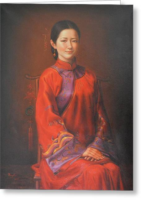 Original Classic Portrait Oil Painting Woman Art - Beautiful Chinese Bride Girl Greeting Card