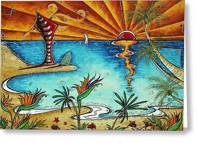 Original Coastal Surfing Whimsical Fun Painting Tropical Serenity By Madart Greeting Card by Megan Duncanson