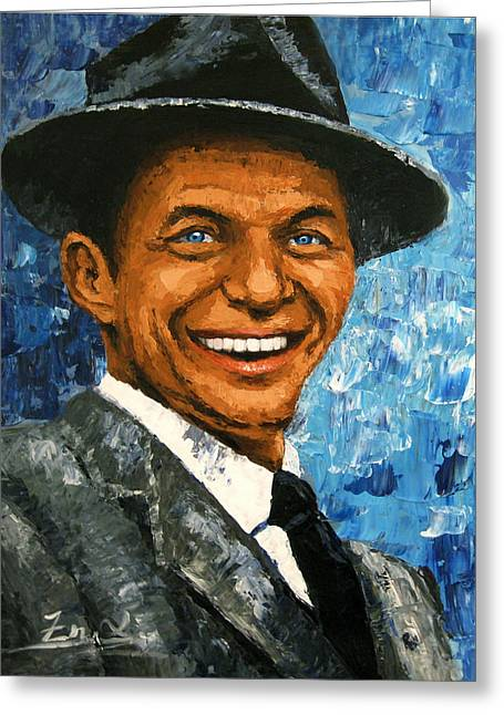 original contemporary painting Frank Sinatra Greeting Card by Enxu Zhou