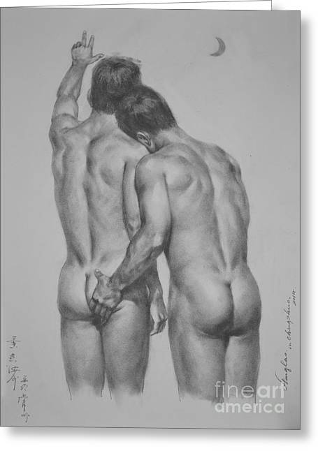 Original Drawing Sketch Charcoal Chalk Male Nude Gay Man Moon Art Pencil On Paper By Hongtao Greeting Card