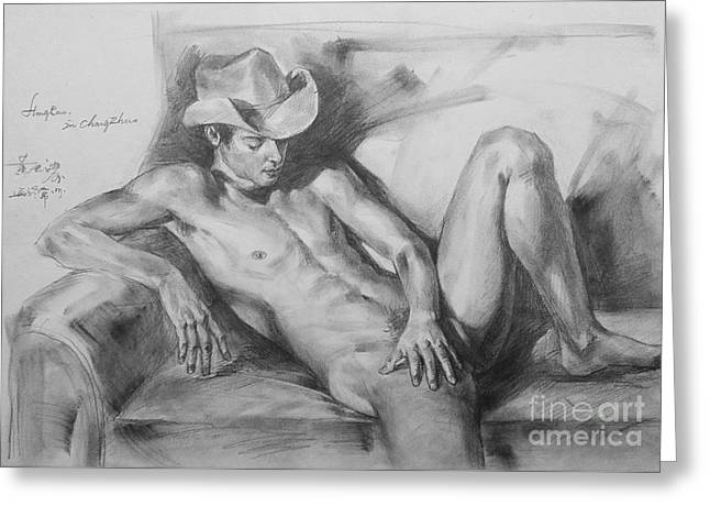 Original Drawing Sketch Charcoal Chalk Male Nude Gay Man On Sofa Art Pencil On Paper By Hongtao Greeting Card
